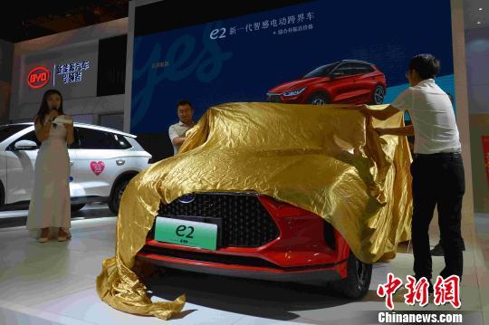 多款新能源汽车进行发布。 王海滨 摄